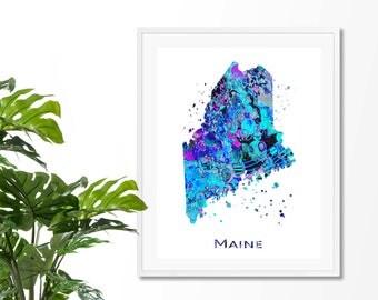 Maine Watercolor Map #7 Art Print, Poster, Wall Art, Contemporary Art, Modern Wall Decor, Office Decor