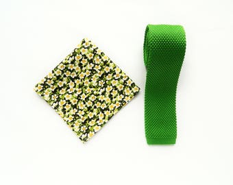 knitted lime green skinny tie floral green pocket square wedding gift for him groomsmen uk