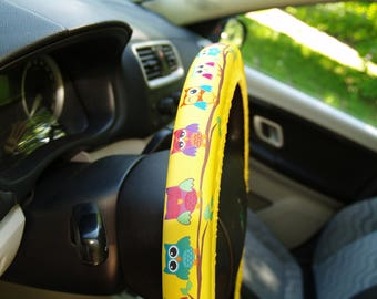 Owls steering wheel cover Sunny car accessory for woman Cute gift for her Car decoration Car decor Birthday gift Car accessories car covers