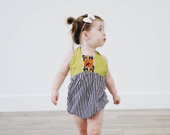 Key Lime Green Striped Romper, Boho Romper, Baby Shower, New Baby, Romper, Baby Girl Outfit, Jacquard Trim, Summer Outfit, Romper Snaps