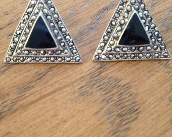 Onyx and Marcasite Sterling Silver Earrings