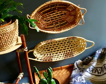 Vintage Bohemian / African Mini Wall Basket Gallery / Wall Basket Set - Includes Three Tribal Baskets - Vintage Bohemian Wall Decor