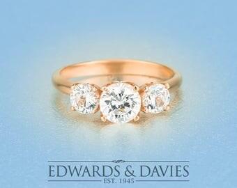 1ct Center Rose Gold Engagement | Three Stone Moissanite Engagement Ring | Forever Brilliant Moissanite | Rose Gold Three Diamond Ring
