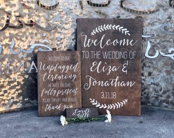 Build Your Own Custom Wedding Sign Package - Wood Wedding Welcome Sign - Unplugged Ceremony Sign - Cards & Gifts Sign - Custom Wedding Signs