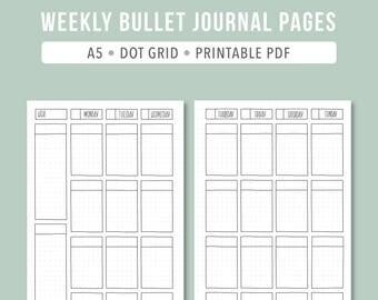 PRINTABLE Bullet Journal Weekly // 2017 Planner Weekly A5 printable planner insert, Bullet journal printable Weekly undated planner