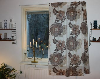 Lovely vintage retro 70s pair of white Curtain lengths with brown floral pattern. Made in Sweden Scandinavian.