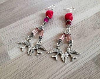 Earrings silver hooks 925, Swarovski Crystal, Bohemian, swallows, rockabilly, rock, agate, howlite
