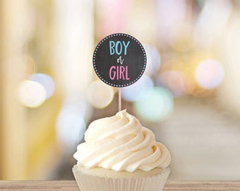 Boy Or Girl Gender Reveal Cupcake Toppers || Printable Gender Reveal Decorations || Gender Reveal Party Ideas, Chalkboard (DIGITAL PRODUCT)