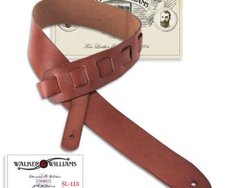 Cognac Soft Italian Leather Guitar Strap Naturally Finished Full Grain Premium Leather SL-113
