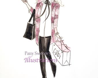 "London Calling, Fashion Illustration, 8.5x11"" print"