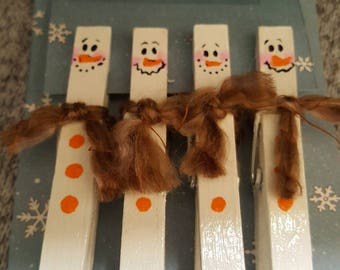 Snowman Clothes Pin Magnets