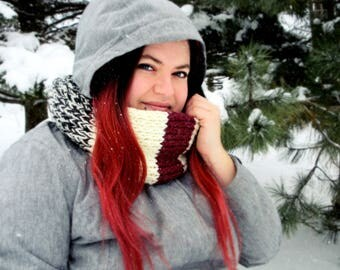 IN STOCK Infinity cowl lumber jack for adult, handmade scarf, knitting accessory, winter cowl, warm and soft cowl, made in quebec
