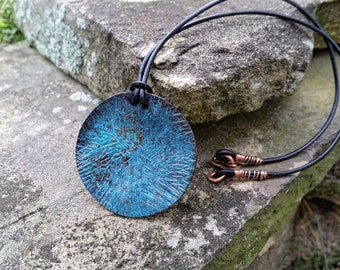 Hammered Blue Copper Pendant Necklace//Gifts for Her//Blue Pendant Necklace//Hammered Copper Pendant// Rustic Pendant Necklaces/Boho Leather