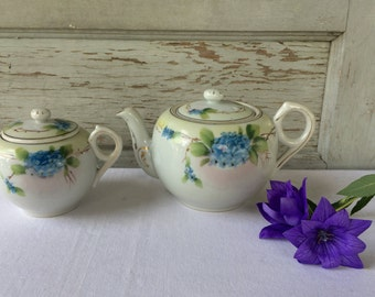 Antique Takito Japanese Hand Painted Porcelain Teapot and Creamer, Shabby Chic, Cottage Decor, Japan, 1920's-1930's,