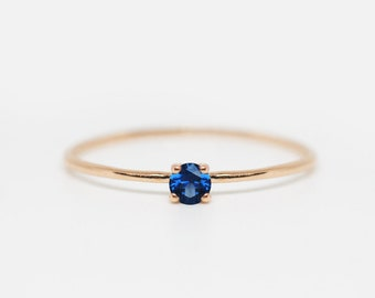 sapphire ring, blue sapphire ring, sapphire promise ring, blue gemstone ring, thin gold ring, gold sapphire ring, simple gold ring