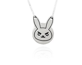 Diva Overwatch, cute bunny necklace, Silver Rabbit Necklace, D.Va Charm, Overwatch Pendant, Sterling Silver 925, rabbit charm, gift