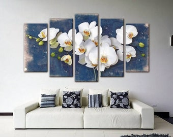Wall decor 5 Panel Canvas,  Photo Print on Canvas, Orchid beautiful flowers, Canvas Art, Interior Design, Living Room Decor, Flower Art