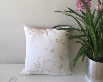 Pink Green Floral Embroidery Pillow Case, tropical pillow, flower decorative pillow, embroidery pillow, artisan gift, botanical throw pillow