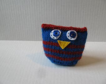 Whimsical Knit Owl, Stuffed Animal, Buffalo Bills, Football, NFL, Blue and Red