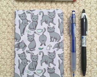 Black Cat and Tea Sketchbook / Gray Kitty Blank Notebook / Journal