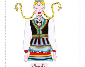 Ionela, folk dress, romanian traditions, romanian folklore, illustrazione di viaggio, illustrazione folk, arte folk, folclore, romania