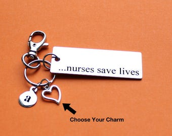 Personalized Nurse Key Chain Nurses Save Lives Stainless Steel Customized with Your Charm & Initial - K323