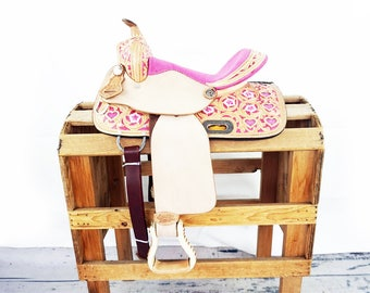 "13"" Pink Custom Rough Out Handmade Western Youth Pony Horse Pleasure Trail leather Saddle"