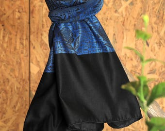Black & Blue Summer Shawl,Spring Blanket Wrap,Oversized Scarf,Floral Wrap,Smart Shawl,Gift Fashionable Unique Jazzy Style,Uncommon,Bright
