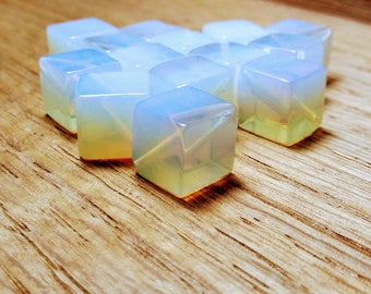 Diagnally  Drilled Opalescent Opalite Cube Glass Beads