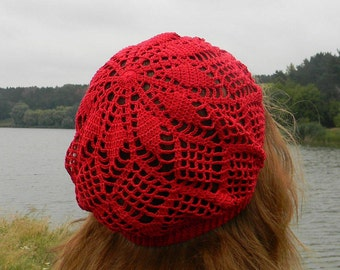 Red Beach hat for women Summer beanie cotton summer hat red crochet beret dark red for women knitted anniversary gifts summer accessories