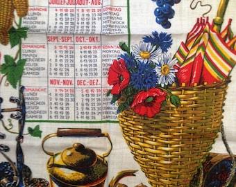 Vintage 1971 Calendar Tea Towel by Kreier 100% Linen Made in Switzerland