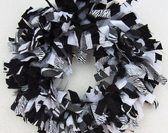 Black and White Zebra Rag Wreath