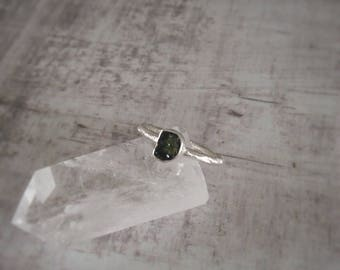 Sterling Silver TOURMALINE Ring - Raw Tourmaline Ring - Brushed Silver Ring - Green Tourmaline Ring - Gift For Her - Birthday Gift