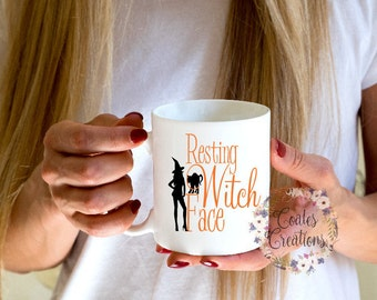 Resting Witch Face Mug//Halloween coffee mugyour choice of mug//office gift//dishwasher safe//permanent logo