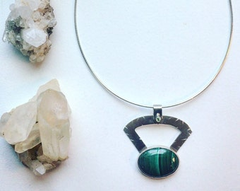 Malachite, Peridot and Silver Abstract Statement Pendant and Silver Necklace