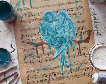 Wedding gift, lovebirds anniversary gift, engagement gift, romantic sheet music art, sheet music painting, girlfriend gift, love is love