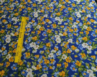 Summer Breeze III-Blue, Yellow, and White Flowers Cotton Fabric for Moda