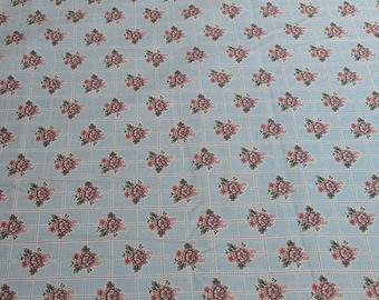 Tour de Fleurs-Flowers on Blue Cotton Fabric