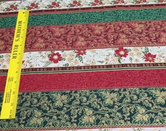 Christmas Strips with Gold Cotton Fabric from Hoffman Fabrics