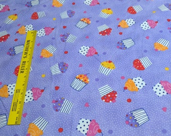 Cupcakes on Purple Flannel Fabric