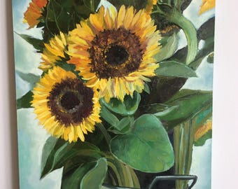Sunflowers in a bucket