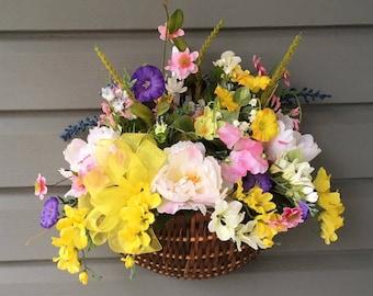 Summer Wreath, Spring Door Hanger,  Summer Door Hanger, Summer Wreath, Spring Wreath, Flower Hanging Wall Basket, Flower Basket