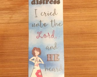 Bible Verse Bookmark - Psalm 120:1 -  handmade WITHOUT tassel (stock #1) In my distress, I cried unto the Lord