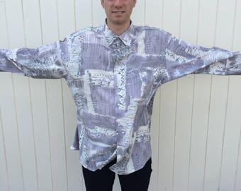 Men's Vintage Shirt. Grey Long Sleeve Patterned Vintage Shirt. Size XL. 80s Fashion.