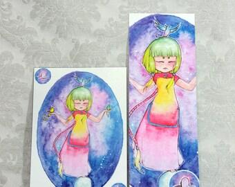 Postcard & Bookmark zodiac - Libra
