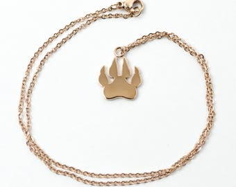 Paw Print Necklace Rose Gold - Claw Necklace - Dog Necklace
