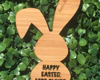 Personalised Bamboo Bunny Easter Gift Tags