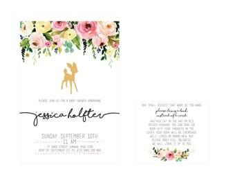 Floral Deer Baby Shower Invitation