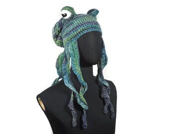 Choose Your Color Crochet Octopus Hat: Octopus Tentacle Stuffed Octopus Fantasy Creatures Sea Creature Under the Sea Hat Crochet Animal Hat