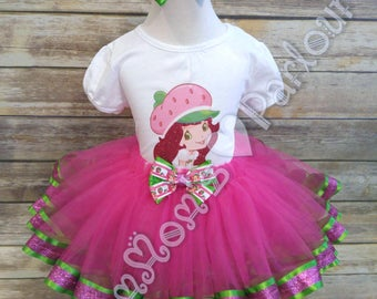 strawberry shortcake tutu set, strawberry shortcake birthday outfit, birthday tutu, strawberry shortcake birthday theme, red hair don't care